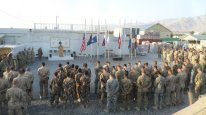 Wide shot of 9/11 Ceremony in Afghanistan