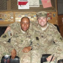 Captain A. and I in the Smoke Shack at Camp Phoenix, Afghanistan