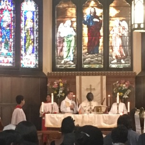 Fr. J presiding over the Eucharist at St. Mary's Dorchester